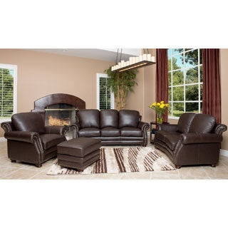 Abbyson Living Maxwell Top Grain Leather 4-piece Living Room Furniture Set