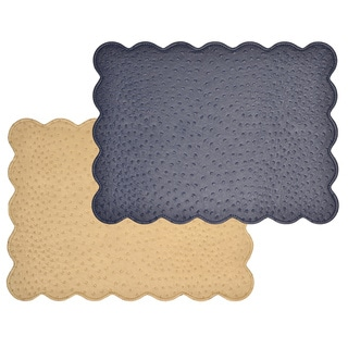Reversible Faux Leather Ostrich Navy/ Tan Placemats (Set of 2)
