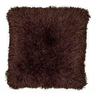 Senses Shag Tri-Chocolate 18-inch Square Accent Throw Pillow