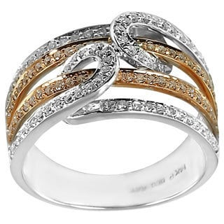 14k Rose and White Gold 3/4ct TDW Multi-row Diamond Ring (H-I, I1-I2)