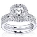 Annello 14k Gold 1 3/4 ct TDW Asscher Diamond Halo Bridal Set (H-I, I1-I2)
