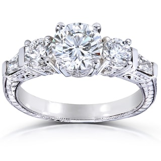 Annello 14k White Gold Certified 2ct TDW Round and Baguette Diamond Ring (H, VS2)