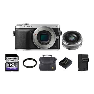 Panasonic LUMIX GX7 DSLM Camera with LUMIX G 20mm II Lens 32GB Bundle