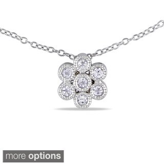 M by Miadora Silver 1/2ct TGW White Topaz Flower Necklace