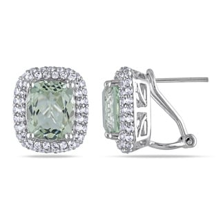 Miadora Sterling Silver 6 1/3ct TGW Green Amethyst and White Topaz Earrings