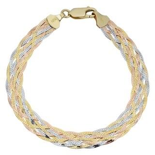 Fremada 10k Tricolor Gold 7-strand Braided Herringbone Bracelet (7.5-inch)