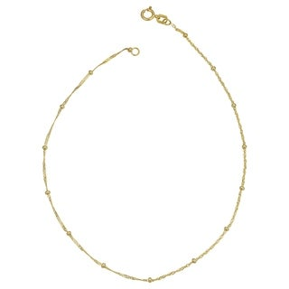 Fremada 10k Yellow Gold 1.87-mm Singapore Saturn Anklet (10-inch)