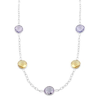 Fremada Sterling Silver Citrine and Pink Amethyst Station Necklace (18 inch)