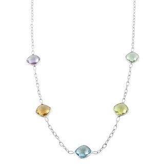 Fremada Sterling Silver Square Gemstone Station Necklace (18 inch)