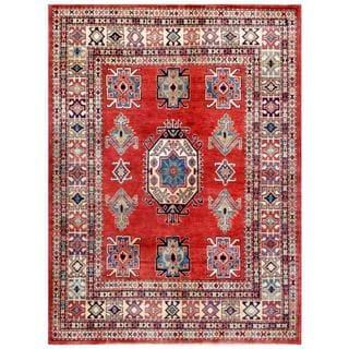 Afghan Hand-knotted Kazak Rust/ Beige Wool Rug (4'11 x 6'6)