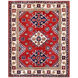 Afghan Hand-knotted Kazak Rust/ Ivory Wool Rug (5' x 6'3)