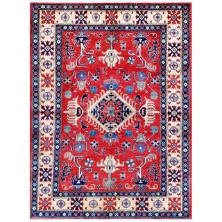 Afghan Hand-knotted Kazak Red/ Blue Wool Rug (4'10 x 6'5)