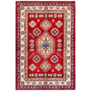 Afghan Hand-knotted Kazak 4' x 6' Red/ Ivory Wool Rug (Afghanistan)