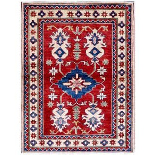 Afghan Hand-knotted Kazak Red/ Ivory Wool Rug (4' x 5'5)