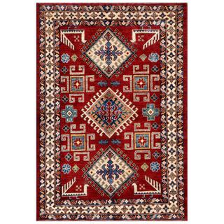 Afghan Hand-knotted Kazak Red/ Ivory Wool Rug (4'2 x 6')