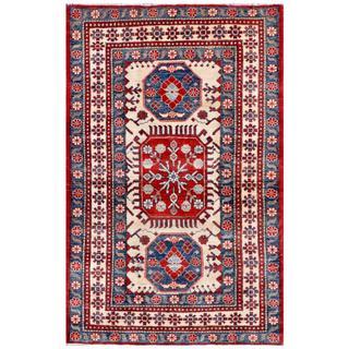 Afghan Hand-knotted Kazak 4' x 6' Red Wool Rug (Afghanistan)