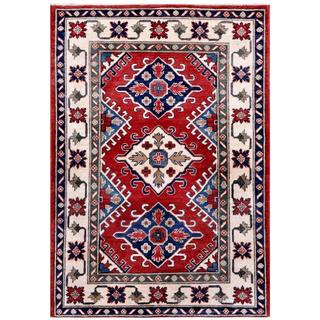 Afghan Hand-knotted Kazak Red/ Ivory Wool Rug (4' x 5'6)
