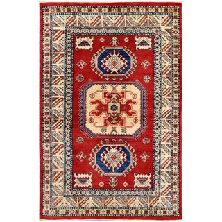 Herat Oriental Afghan Hand-knotted Kazak Red/ Ivory Wool Rug (3'11 x 5'11)