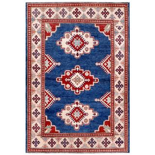 Herat Oriental Afghan Hand-knotted Kazak Blue/ Ivory Wool Rug (3'11 x 5'8)