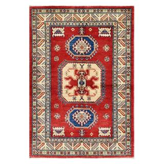 Afghan Hand-knotted Kazak Rust/ Ivory Wool Rug (6' x 6')