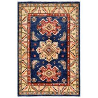 Afghan Hand-knotted Kazak Navy/ Beige Wool Rug (3'11 x 5'11)