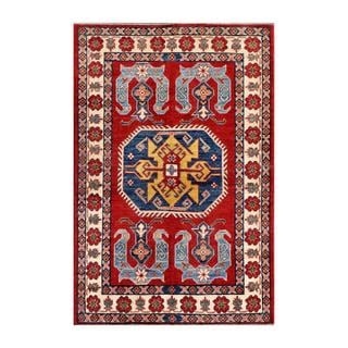 Herat Oriental Afghan Hand-knotted Kazak Red/ Ivory Wool Rug (3'10 x 5'10)