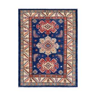 Afghan Hand-knotted Kazak Navy/ Beige Wool Rug (4'1 x 5'5)