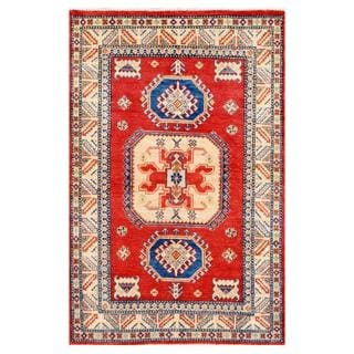 Afghan Hand-knotted Kazak Orange/ Ivory Wool Rug (3'11 x 6'1)