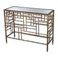 Faux Bamboo Gold Finish Console Table with Mirrored Top