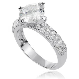 Journee Collection Brass White Cubic Zirconia Bridal-style Ring
