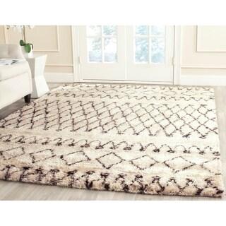 Safavieh Handmade Casablanca Moroccan White/ Black N.Z. Wool Shag Rug (6' x 9')