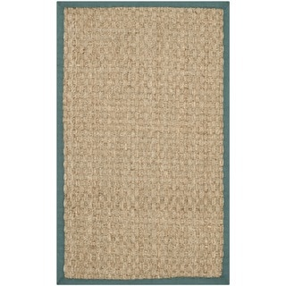 Safavieh Casual Natural Fiber Natural and Light Blue Border Seagrass Rug (2'6 x 4')