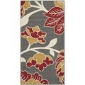 Safavieh Indoor/ Outdoor Hampton Dark Gray/ Rust Polypropylene Rug (4' x 6')