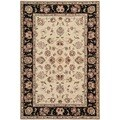 Safavieh Handmade Persian Court Beige/ Black Wool/ Silk Rug (4' x 6')