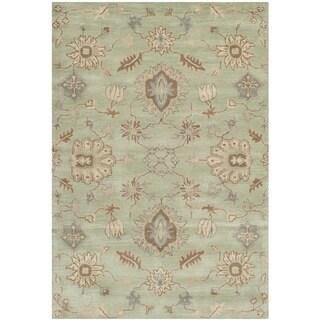 Safavieh Handmade Wyndham Light Green Wool Rug (4' x 6')