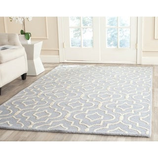 Safavieh Handmade Moroccan Cambridge Light Blue/ Ivory Wool Rug with High/ Low Construction (5' x 8')