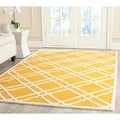 Safavieh Handmade Moroccan Cambridge Gold/ Ivory Wool Rug (5' x 8')