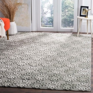 Safavieh Handmade Manhattan Grey/ Ivory Wool Rug (6' x 9')
