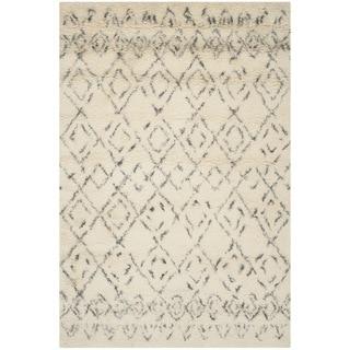 Safavieh Handmade Casablanca Moroccan White/ Grey N.Z. Wool Shag Rug (8' x 10')