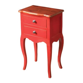 Red Finish Accent Chest with Honey Finish Top
