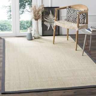 Safavieh Casual Natural Fiber Marble and Grey Border Sisal Rug (4' Square)