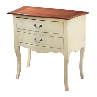 Cream Finish Accent Chest with Honey Finish Top