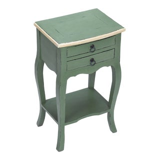 Distressed Sea Green Finish Accent Table with Vintage Cream Trim