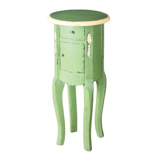 Distressed Green Finish Round Accent Table with Cream Trim