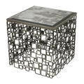Antique Silver Finish Square Accent Table with Mirrored Top