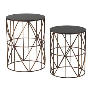 Set of Two Gold Finish Round Metal Accent Tables