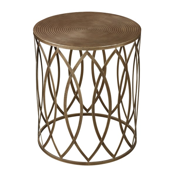 Wanderloot truss green distressed industrial metal coffee table - Antique Gold Finish Round Metal Accent Table 15864973