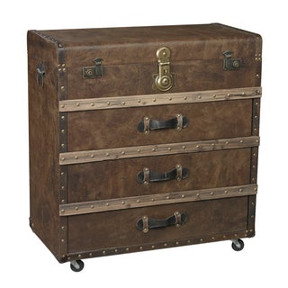 Brown Trunk Accent Chest with Faux Leather Trim