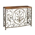 Vintage Distressed Pecan Brown Finish Metal Console Table
