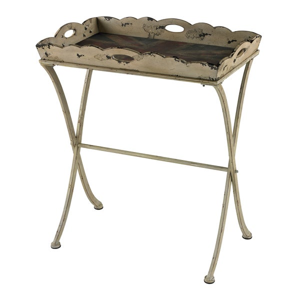 Vintage Distressed Cream Finish Tray Table